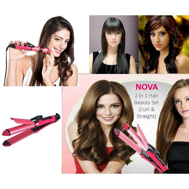 2 in 1 Hair Curler and Hair Straightener (NHC- 2009)-Pink