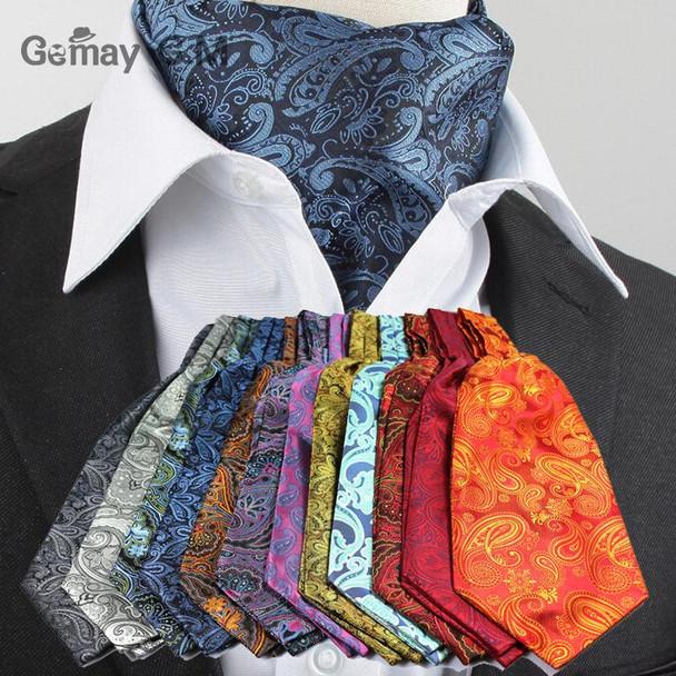 Men Vintage Polka Dot Wedding Formal Cravat Ascot Scrunch Self British style Gentleman Polyester Silk Neck Tie Luxury