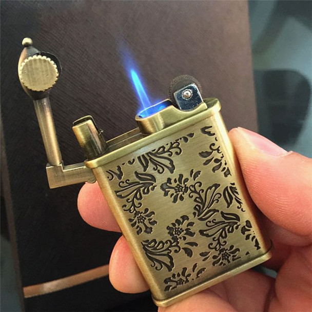 Lighters & Smoking Accessories,Flower Carved Antique Style Butane Gas Fuel Refillable Cigarette Lighter