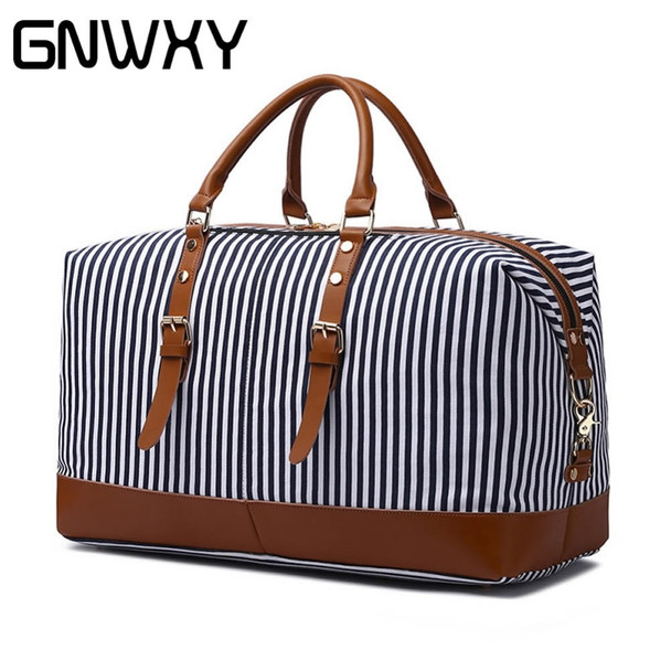 GNWXY Striped Canvas Leather Travel Bag High Capacity Weekend Bag Overnight Carry On Luggage Handbag Women Soft Shoulder Bags