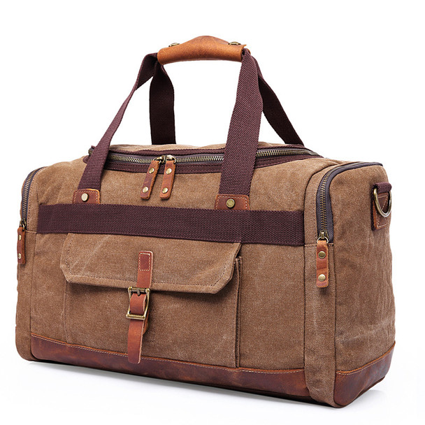 Chuwanglin Canvas Leather Men Travel Bags Carry on Luggage Bags Men Duffel Bags Travel Tote Large Weekend Bag Overnight ZDD836