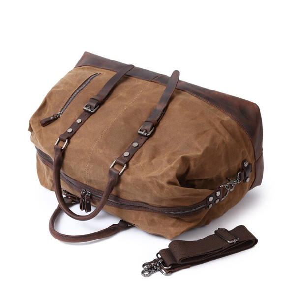 Carry On Luggage Men Travel Bags Waterproof Canvas Mens Duffle Bag High Quality Leather Large Capacity Weekender Overnight Bag