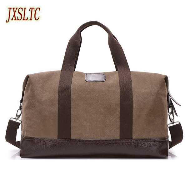 JXSLTC Canvas Leather Men Travel Bags Carry on Luggage Bags Men Duffel Bags Travel Tote Large capacity Weekend Bag Overnight