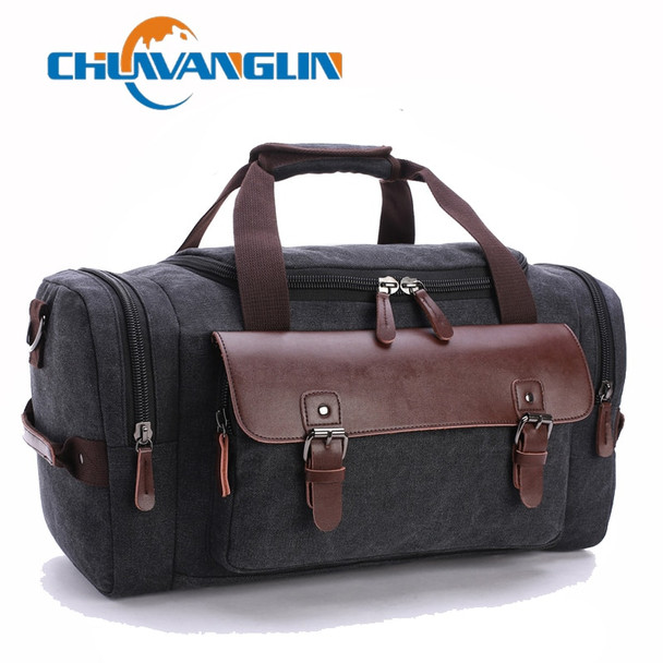 Chuwanglin Canvas Leather Men Travel Bags Carry on Luggage Bags Men Duffel Bags Travel Tote Large Weekend Bag Overnight ZDD772