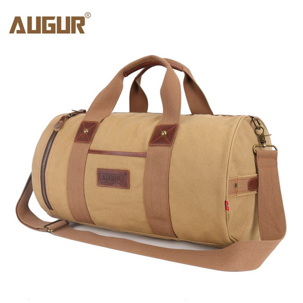 AUGUR Canvas Leather Carry on Luggage Bags Men Travel Bags Men Travel Tote Large Capacity Weekend Bag Overnight Duffel Bags