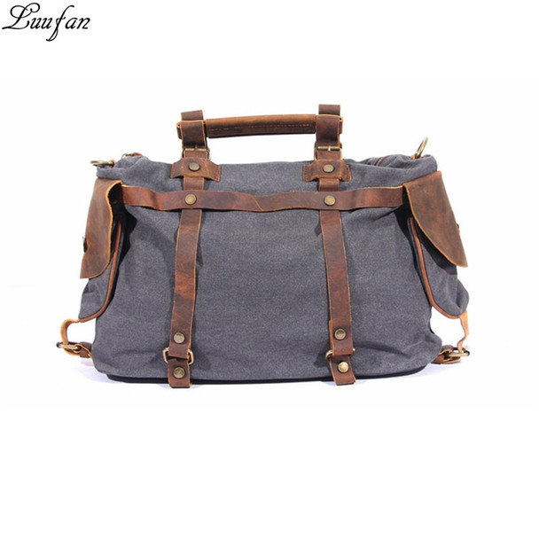 "2018 New Fashion canvas shoulder bags 14"" laptop men women casual durable leather tote work bags large luggage travel bag"