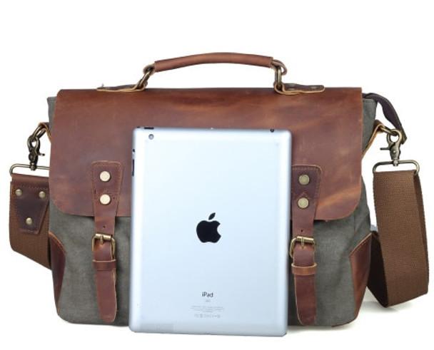 Vintage casual men's portable briefcase canvas postman bag Messenger bag with crazy horse leather 14 Inch Laptop Crossbody Bag