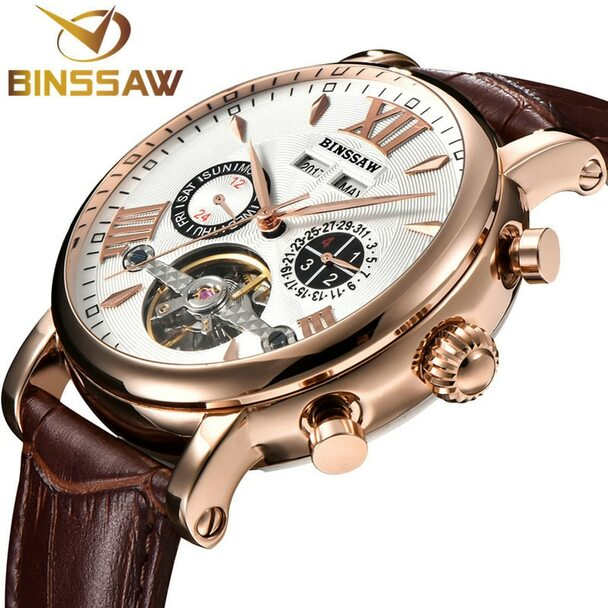BINSSAW Men Tourbillon Automatic Mechanical Watch Luxury Fashion Casual Brand Leather Man Week Gold Watches relogio masculino