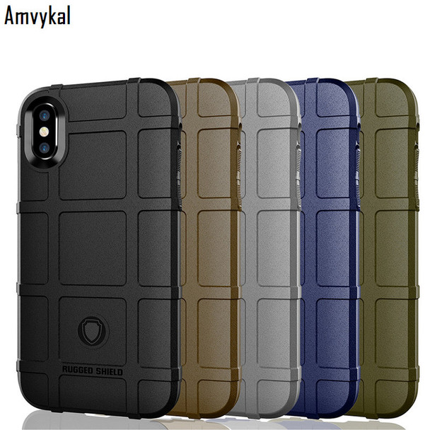Amvykal For iphone XR X XS Max 6 7 8 Samsung S9 S10 Plus S10e Soft Silicone Cover Rugged Shield Shockproof Armor Protective Case