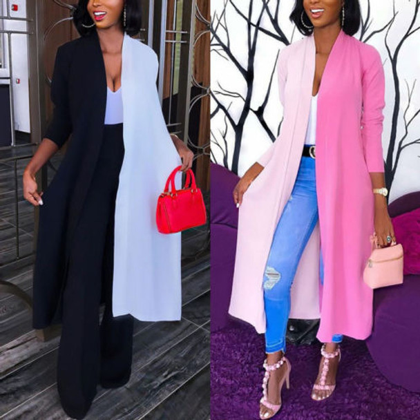 Fashion Women Contrast Color Cardigan Blouse 2018 New Long Sleeve Cardigan Loose Summer Kimono Shawl Tops Blouse Coat S-XL