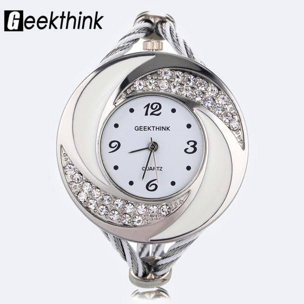 Fashion Rhinestone Diamond Whirlwind Design Steel Weave Dress Wristwatch Woman Girl Ladies Bracelet Bangle Quartz watch