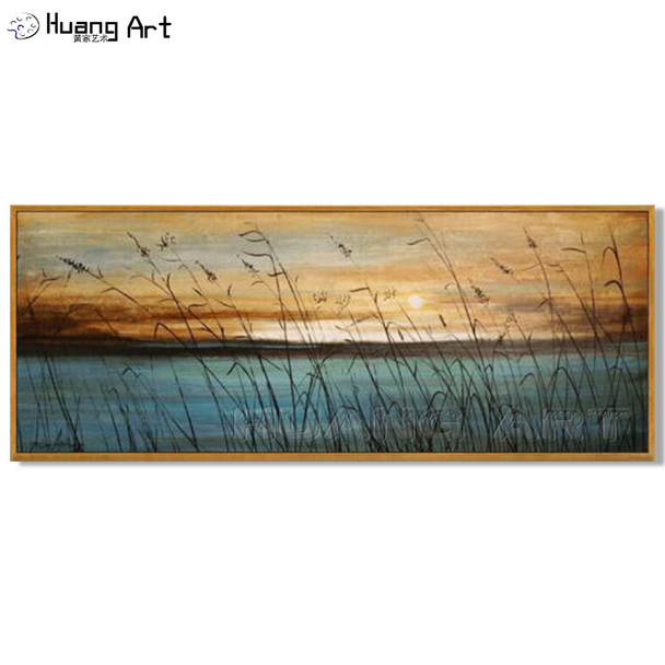 Handmade Lakeside Landscape Wall Decor Oil Painting Hand Painted Modern Blue Sea Art Sunset Seascape Oil Painting on Canvas