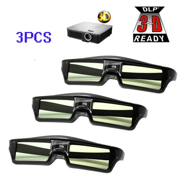 Free Shipping!!3pcs/lots ATCO Professional Universal DLP LINK Shutter Active 3D Glasses For 3D Ready DLP Projector