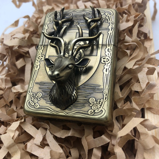 Deer head Kerosene Lighters Wall hanging Etching Pure Brass Copper Armor Cigarette Lighter Smoker Gift with wood box