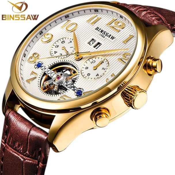 BINSSAW Men Original Luxury Brand Tourbillon Automatic Mechanical Watches Fashion Leather Watch Business Gifts Relogio Masculino