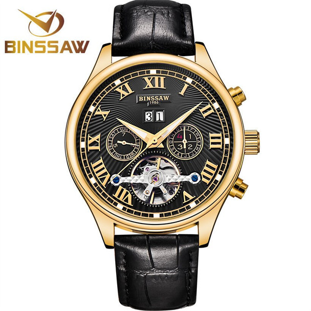 BINSSAW 2018 Men Luxury Brand Tourbillon Mechanical Fashion Casual Leather Business Sports Automatic Watch Relogio Masculino