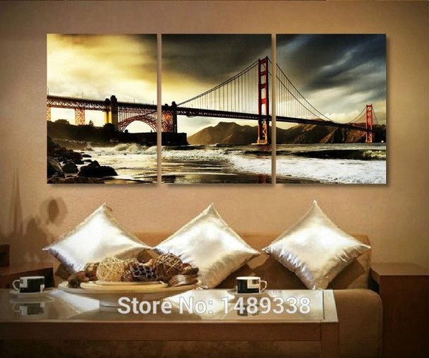Free shipping 3 panels home deco wall decorative oil painting the bridge golden gate bridge print on canvas Framed art ll773