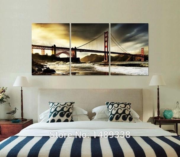 Free shipping 3 panels home deco wall decorative oil painting the bridge golden gate bridge print on canvas Framed art ll773