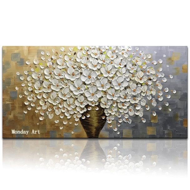 Modern Handpainted Large Gold Money Tree Flower Oil Painting On Canvas Abstract Home Wall Decor Art Picture For Living Room Gif