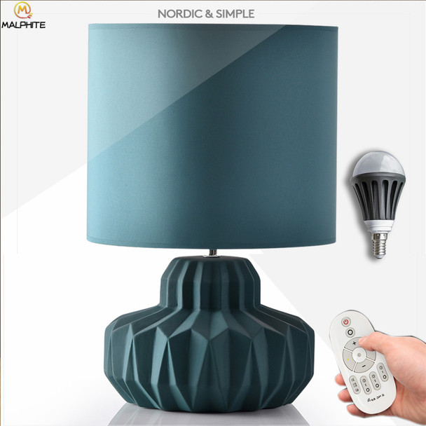 Nordic Ceramic table lamp Simple Blue Fabric Led Table Lamps Bedroom Bedside Table Light home Deco Lighting Luminaria Table