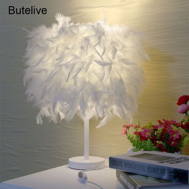 Feather Table Lamp LED Bedside Lamp Table Lamp For Bedroom Living Room Home Deco Maison E27 Tafellamp Lampe De Chevet De Chambre