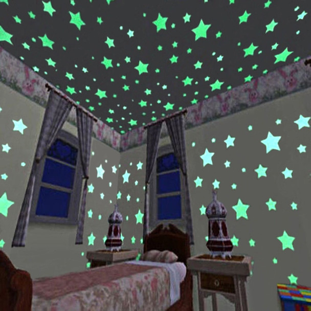 100 PCs Luminous Star Wall Stickers Art Wallpaper DIY Decoration for Kids Baby Wall Bathroom Living Room Kitchen Home Decos