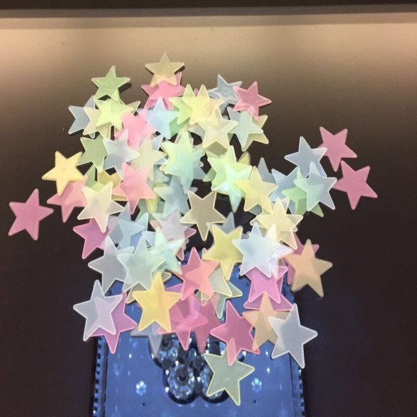 100 PCs Luminous Star Wall Stickers Art Wallpaper DIY Decoration for Kids Baby Wall Bathroom Living Room Kitchen Home Decos