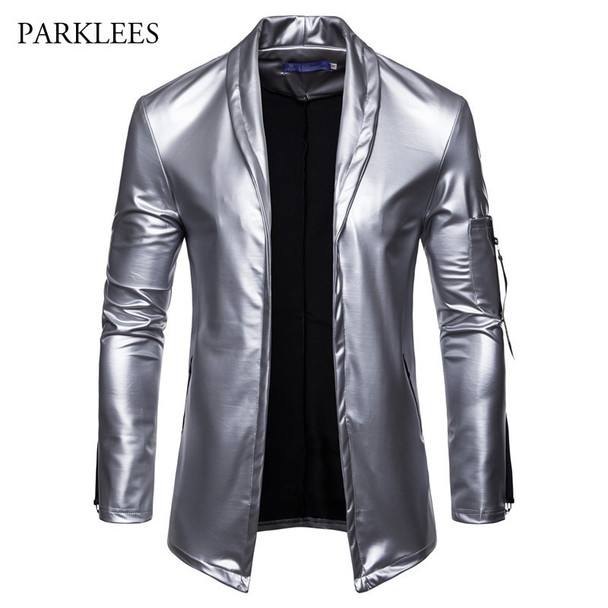 Shiny Silver Cardigan Suit Blazer Men Tin Man Costume 2018 Hipster Solid Color PU Leather Blazers Jacket Mens Nightclub DJ Terno