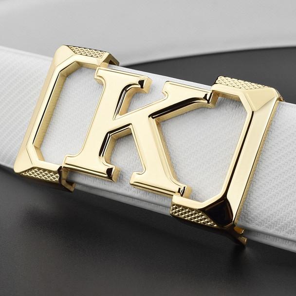 K letter Casual belt for men White fashion designer belts boy leisure Cowskin Waist Strap genuine leather metal buckle Waistband