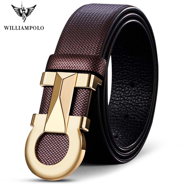 WILLIAMPOLO Mens genuine leather Belt Automatic Buckle strap luxury brand mens Jeans Belt Business casual Cowhide