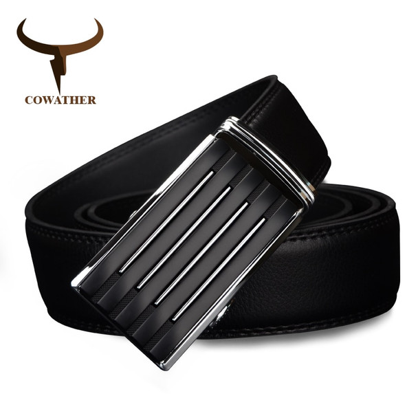 COWATHER 2019 men's casual cow genuine leather belts for men strap male belt golden automatic buckle cinto masculino