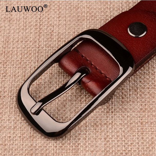 LAUWOO 2019 Women's strap casual all-match Women brief genuine leather belt women strap pure color belts Top quality jeans belt