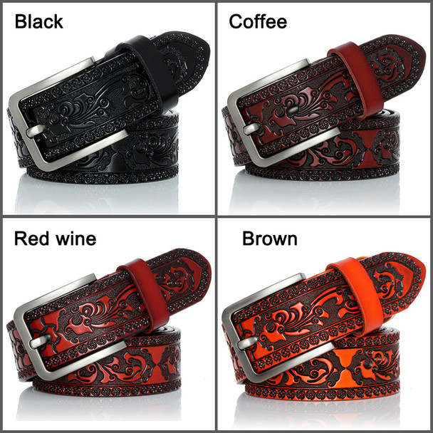 DINISITON Genuine Leather Belts for men Designer Belt Male Print Vintage Pin Buckle Luxury Strap New Fashion High Quality YH918