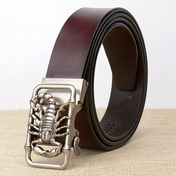 Latest Design Scorpion Automatic Buckle Men Belts Genuine Leather Causal Male Jeans Waist Strap Cow Leather Belts for Men Cinto