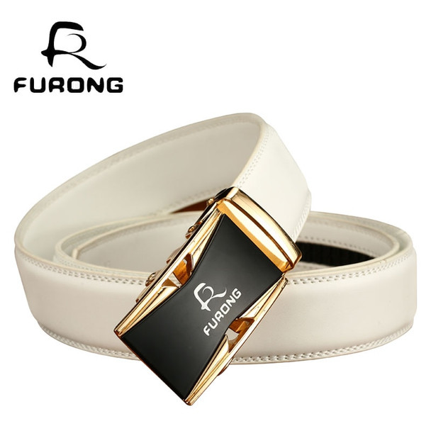 Fine Quality Alloy buckle Belts for Men Original Design Luxury White Belts Male Genuine Split Leather Strap Mens Designer Belts