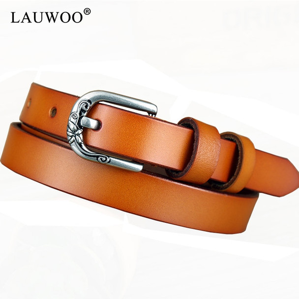2018 new Women's strap genuine leather casual all-match Women brief leather belt women's strap belt students pure color belts