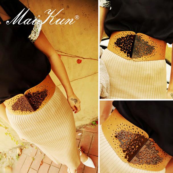 Maikun Vintage Wide Waist Belts for Women Stretchy Corset Waistband Hollow All-Match Women's Belt Flower Pattern Cummerbund