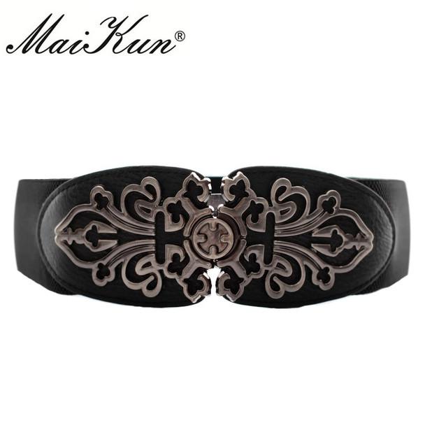 Vintage Design Elastic Belts For Women Wide Stretch Waistband Floral Buckle Retro Faux Leather Female Wide Belts Cummerbunds