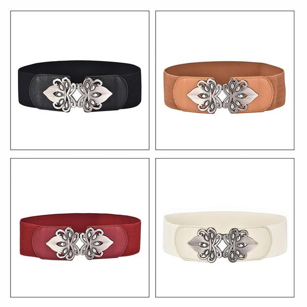 Maikun Vintage Design Belts For Women Diamond Buckle Wide Elastic Stretchy Waist Belt Female PU Leather Fashion Joker Belt