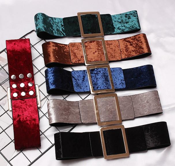 new brand design Velvet wide Waist Belts For Women Dress causal Corset Belt Large metal Buckle Girdle Cummerbunds accessories