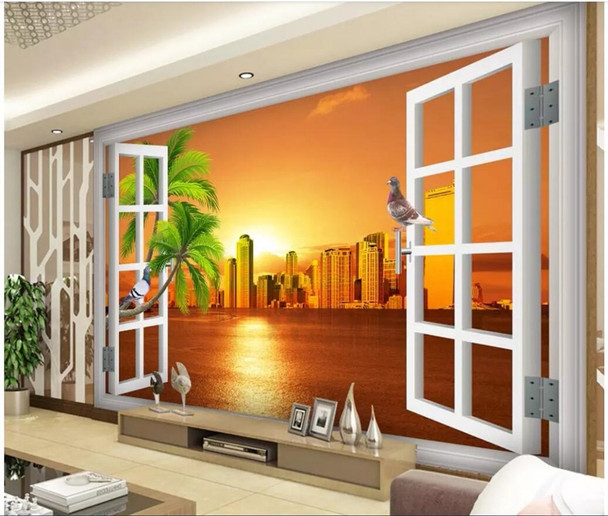 Custom mural photo 3d room wallpaper Window, sea view, sunset building Home decoration 3d wall murals wallpaper for walls 3 d