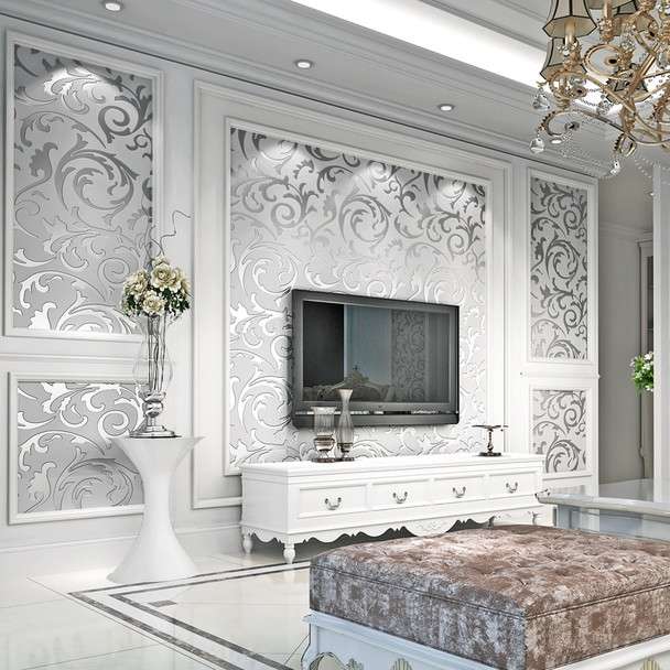 Luxury Damask Gold Silver Wallpaper For Walls 3 D Non-woven Wallcovering Living Room Bedroom TV Background Decor