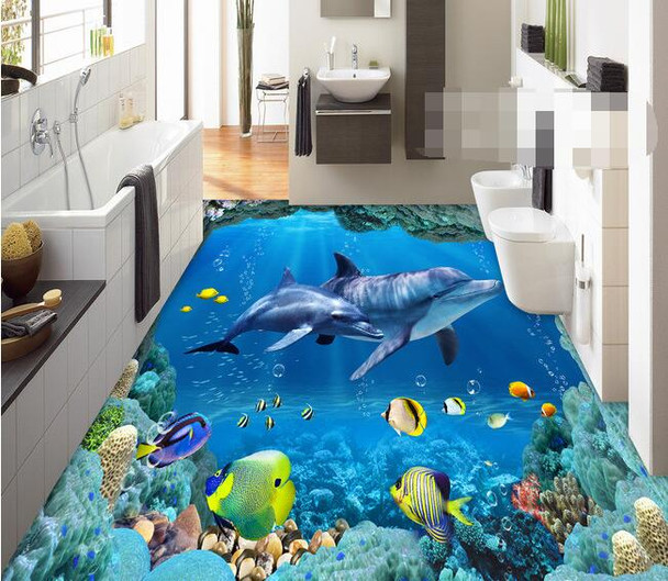 3 d pvc flooring custom wall paper Underwater world --3d bathroom flooring picture mural photo wallpaper for walls 3d