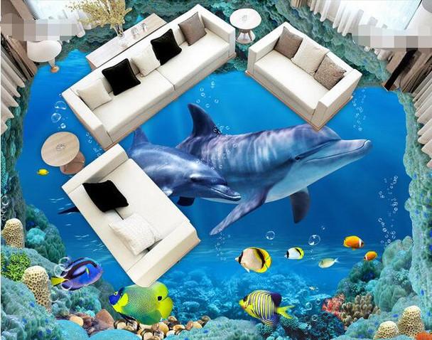 3 d pvc flooring custom wall paper Underwater world --3d bathroom flooring picture mural photo wallpaper for walls 3d