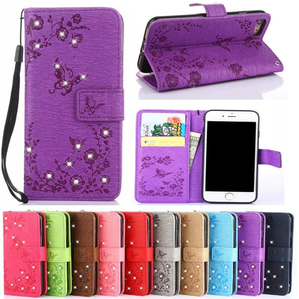 Butterfly Bling Diamond PU Leather Flip Cover For Samsung Galaxy S8 Plus S7 S6 Edge S5 J3 J5 J7 2016 A3 A5 A7 2017 J2 Prime case 1 2