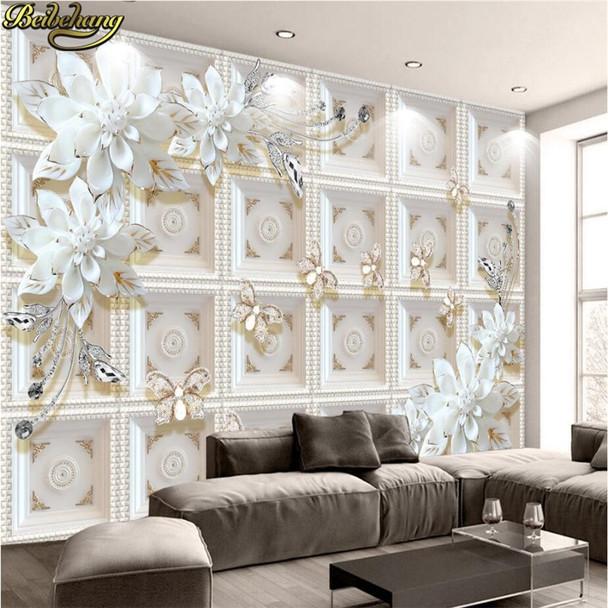 beibehang Custom photo wallpaper murals three-dimensional relief jewelry flowers European 3D background wall paintings