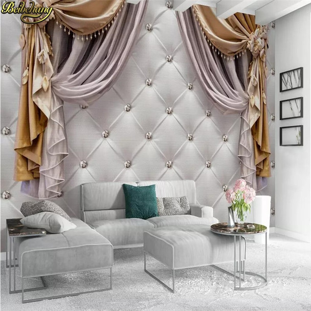 beibehang Custom European curtain soft bag Photo Wallpaper Living Room Bedroom Sofa Background Painting Background 3D wall paper