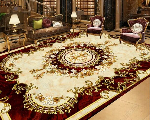 European style carpet non-slip waterproof self-adhesive bedroom 3D floor tiles Custom home bathroom 3D wallpaper Beibehang