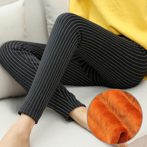 WKOUD 2019 Winter Warm Leggings Women High Waist Stretch Striped Printed Pencil Pants Thicken Skinny Female Trousers M-XXL P8615