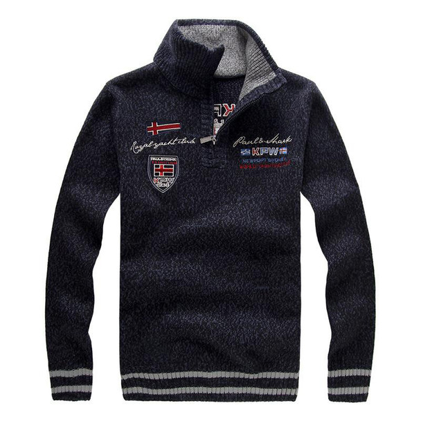 New men's Sweater Winter Fashion Embroidery Thicken Stand Collar Wool Sweater Coat For Men Pullovers 3 Colors BFA15